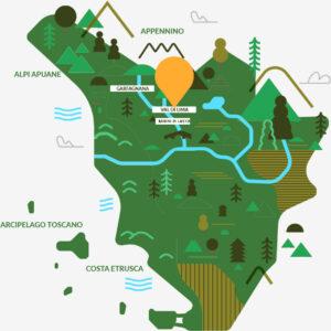 Una mappa illustra la posizione di Canyon Park per gli appassionati di outdoor in Toscana